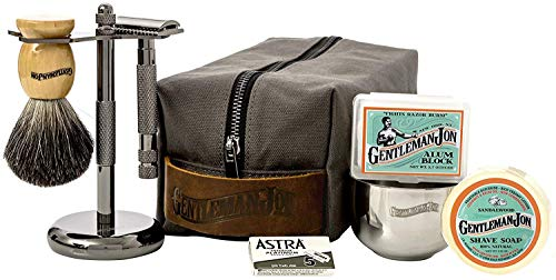 Gentleman Jon Deluxe Wet Shave Kit | Includes 8 Items: Safety Razor,...