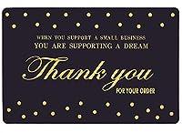 サンキューカード スモールビジネス100枚パック (名刺サイズ) エレガントなデザインと中小企業をサポートする意味のある言葉 - 小売店やオンラインストアに最適