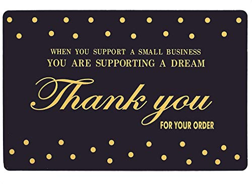 Thank You Cards Small Business 100 Pack (Business Card Sized) Thank You for Your order Cards with Elegant Design and Meaningful Sayings for Supporting Small Business - Best for Retail or Online Stores