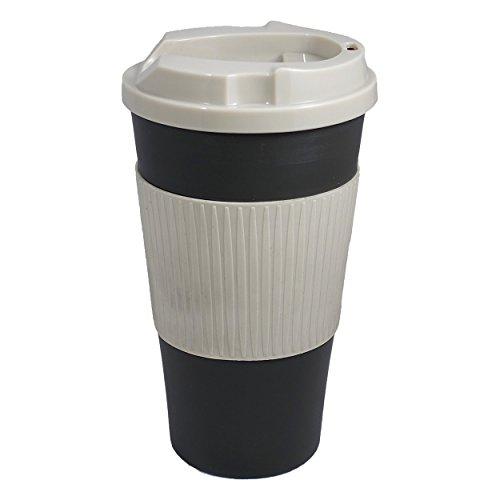 Ruumi Rev-Air Ergonomic, Nose-Accommodating Travel Mug, 16 oz, Black/Gray