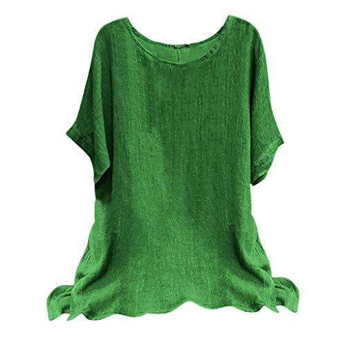 Xniral Kurzarm T-Shirt Gedruckt für Damen, Einzigartiges Oberteile Sommer Kleine Gänseblümchen Bluse Tops(b Grün,3XL)