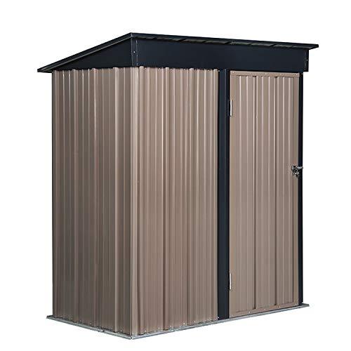 GDY Steel Storage Shed Backyard Lawn Building Garage (5'x3' Brown)