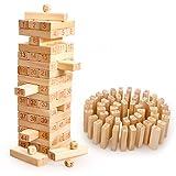 LOKIPA ジェンガ 木製 Jenga 17段 サイコロ付き バランスゲーム テーブルゲーム パーティゲーム 罰ゲーム 木製 積み木 無限大の遊び方 大人も子供も楽しめる