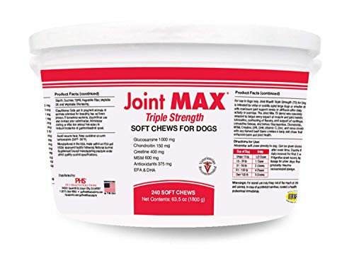 PHS Joint MAX Triple Strength (TS) Soft Chews for Dogs - Glucosamine, Chondroitin, MSM - Vitamins,...