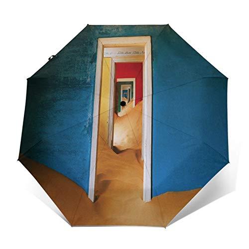 SUHETI Paraguas automático de Apertura/Cierre,Fotografía arquitectónica de Arte,Puerta de Color arcoíris,Desierto en la habitación,Paraguas pequeño Plegable a Prueba de Viento