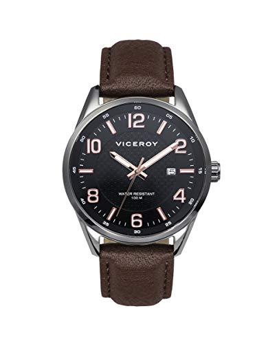 Reloj de Hombre Viceroy Magnum Tres Agujas de Acero IP Gris y Correa de Piel marrón Ref 401013-95