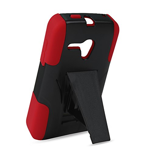 Reiko Silicon Case+Protector Kickstand Case Carrying Case for Alcatel Onetouch Pop Star 2 LTE A521L/Pop Nova LTE A520L - Retail Packaging - Red Black