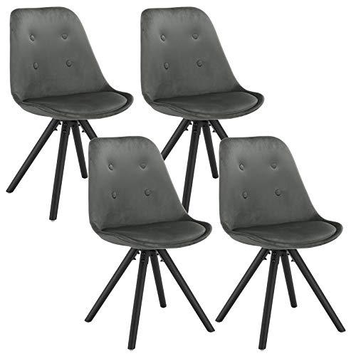 WOLTU® BH196dgr-4 4 x Esszimmerstühle 4er Set Esszimmerstuhl, Sitzfläche aus Samt, Design Stuhl, Küchenstuhl, Holzgestell, Dunkelgrau