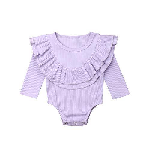 Bebé Ruffle Romper algodón Manga Larga Bodysuit Casual Camiseta Blusa Blusa para 0-12 Meses...