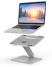Laptopstandaard, AboveTEK verstelbare computerverhoger voor bureau, compatibel met Mac MacBook Pro Air Notebook, tot 17 inch, ondersteunt tot 19,96 KG -zilver
