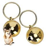 01 Pet Bells, Pets Campanas de Cobre Cromado con Llavero para Exterior para Perro(Gold)
