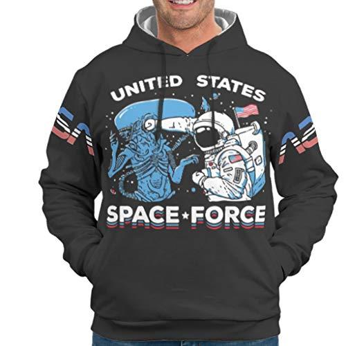 O5KFD&8 Herr Hoody Jungen US Space Force Logo Freizeit - Schwergewicht Slim Herbstoberteile White l