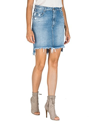 Replay Damen WA9234.000.108R268 Rock, Blau (Light Blue 10), Large (Herstellergröße: 28)