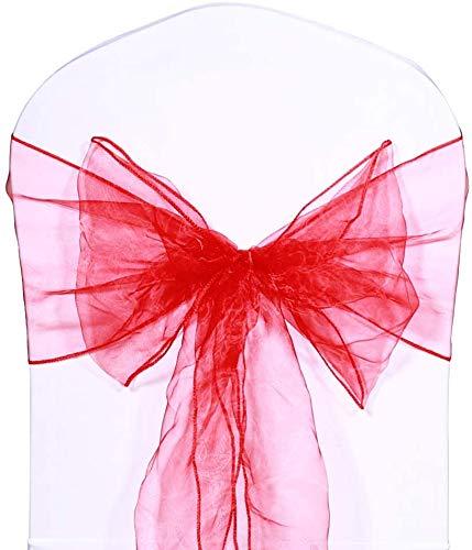 Namvo 10 lazos de organza para sillas de bodas, fiestas y cumpleaños, color rojo