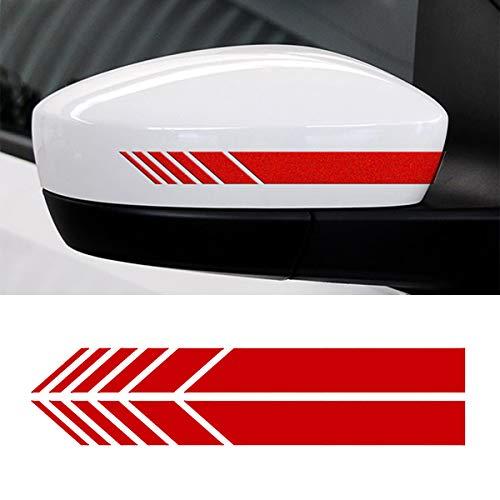 Cobella Auto-Spiegelstreifen-Aufkleber, Dekoration, Auto-Streifen, 2 Stück Rot US-A-0041