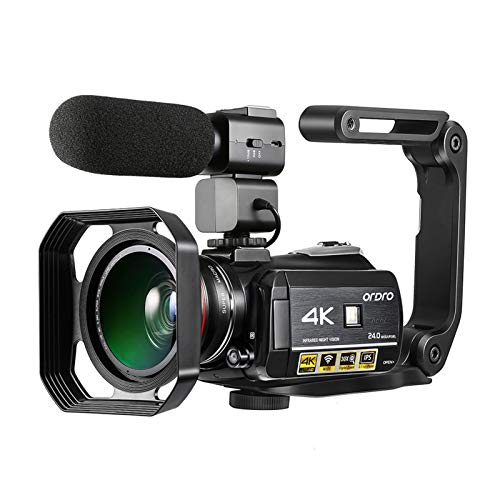 Andoer AC3 4K WiFi Câmera de Vídeo Digital Filmadora Gravador DV 24MP 30X Zoom IR Visão Noturna 3,1 polegadas LCD Touchscreen IPS com 2pcs Baterias Recarregáveis + Extra 0.39X Lente Grande Angular