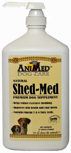 AniMed Shed-Med Skin and Coat Supplement for Dogs, 32-Ounce