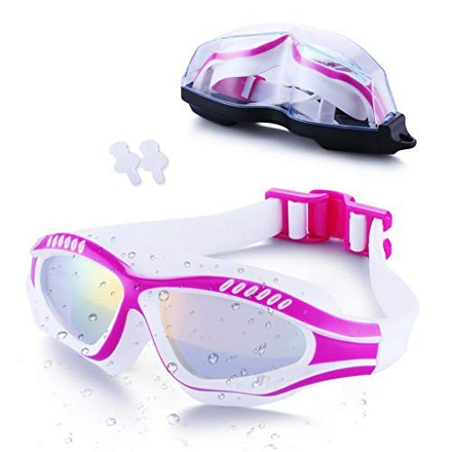 BAOFI Adult Swimming Goggles, Free Protection Case, Anti Fog, UV Protection, Plating Large Frame, Triathlon Equipment, Men, Women, Youth Kids Child- Best Swim Glasses,PinkWhite
