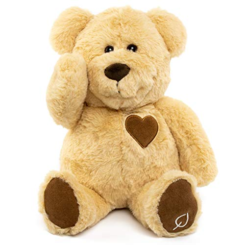 Cuddles Aroma Bear Stuffed Animal - Essential Oils & Aromatherapy Diffuser Teddy Bear - Real Naturally Tanned Leather - Kids Bedtime Buddy - Unique Gift for Toddlers