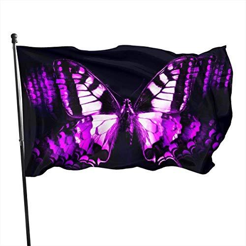 Viplili Banderas Weather Resistant Animated Beautiful Purple Butterflies Garden Flag, Demonstration Flag - 3 X 5 Ft