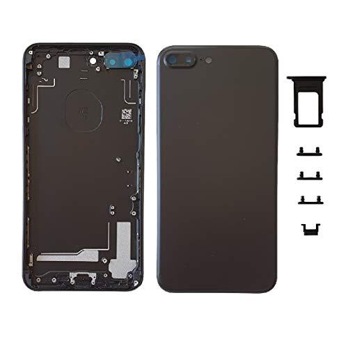 Smartex Scocca Posteriore in Vetro + Telaio Compatibile con iPhone 7 Plus | Back Cover + Frame (Nero)