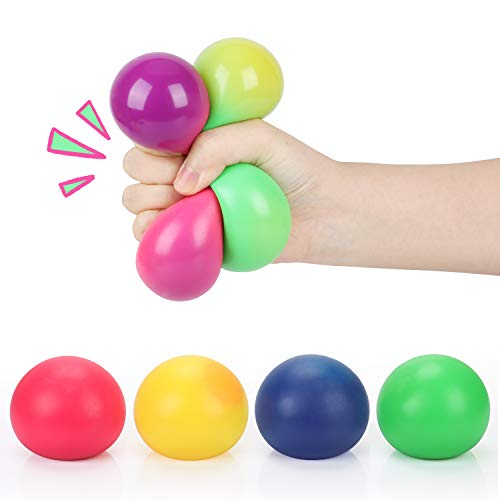 TOYCRAZ Stretch Squeeze Stress Balls Toy, Color Changing Stress Squishy Balls (4-Pack) for Adults Kids Teens, Elastic Fidget Sensory Balls for Stress and Anxiety Relief