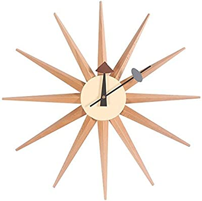 SHISEDECO Modern George Nelson Sunburst Clock Natural - Non Ticking,Wooden Mid Century Retro Design Decorative Silent Wall Quartz Clock for Home, Kitchen,Living Room,Office and Bedroom etc.(Natural)