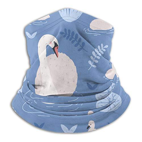 Met witte swans en brood fleece nek warmer heat trapping Sun-proof nek Gaiter tube Soft Elaststic Balaclava Half Mask Unisex Windproof Ski Neck Gaiter Cover voor winter Skiing Run