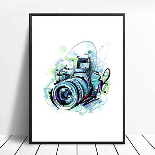 xinyouzhihi Abstrakte Kamera Druck Poster Leinwand Bilder Abstrakte Ölgemälde auf Leinwand Wandkunst Home Decoration Wand 50x62cm Kein Rahmen