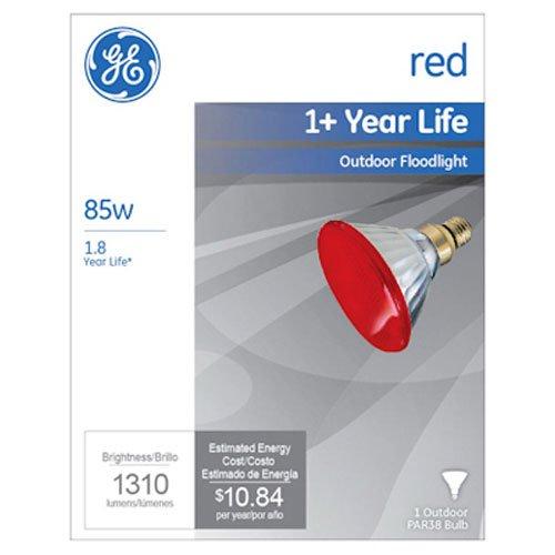 GE Lighting 13472 85-Watt Outdoor PAR38 Incandescent Light Bulb, Red
