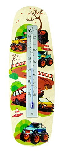 Hess houten speelgoed 15805 – thermometer van hout, monstertruck, ca. 26 x 8 cm.