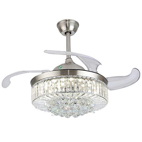OUKANING Ventiladores de techo retráctiles de cristal con forma de abanico moderno con luz de 3 color y ventilador de araña de cristal LED invisible remoto para sala de Estar Comedor 36 pulgadas Plata