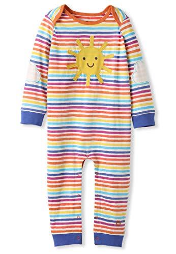 kIDio Bio-Baumwolle Strampler - Baby Mädchen Junge - Sonnenschein Applikation - Regenbogen Streifen (0-2 Jahre) (Neugeboren)