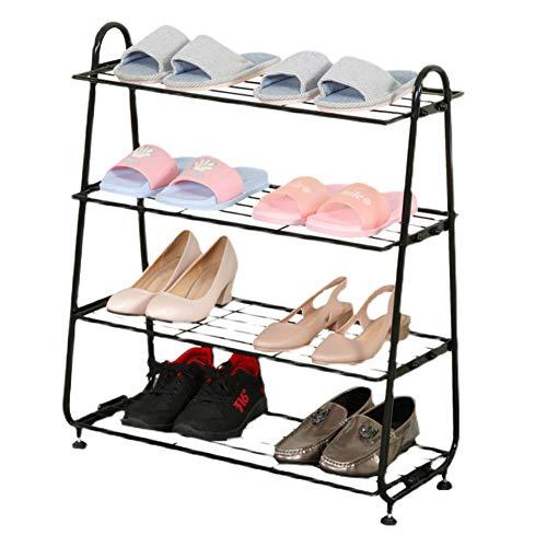 Estantería para Zapatos con 4 Baldas Mueble Zapatero Compacto En Metal con Capacidad para 12-16 Pares De Zapatos, para Sala De Estar, Guardarropa Y Pasillo,74 X 62 X 25 Cm