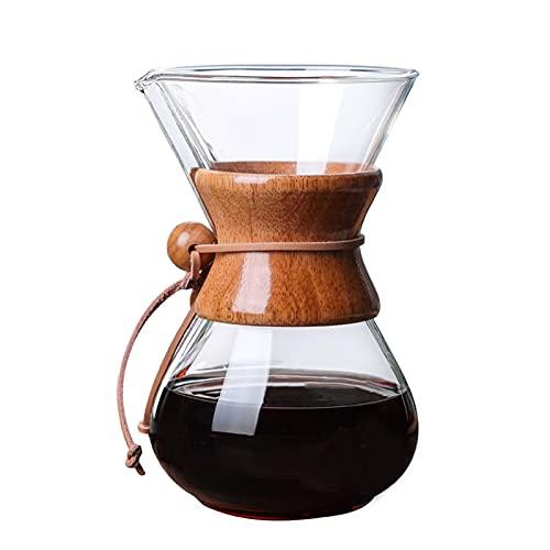 YJSS JXXXJS 400ml 600ml Coffee Pot Manija de café Espresso Goteo de Vidrio cafetera con Filtro de Acero Inoxidable (Color : 600ml No Filter)