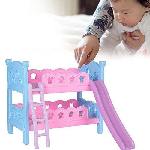Poppenhuismeubilair Finial stapelbedden, luxe dubbele lagen Mini slaapkamermeubilair Dollhouse Display Model Bed miniatuur voor 30cm pop speelgoedaccessoires