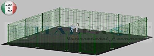 ITALFROM Enclos modulaire pour Chiens en Fer galvanisé et Verni Vert avec poteaux à tapissier – 600 x 600 x 102 H cm