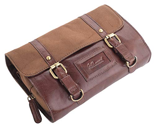 Lambland Genuine Luxury Leather and Canvas Toiletry Travel Bag in Chestnut