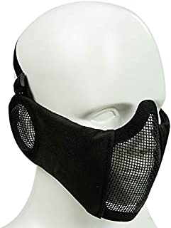 Simways Half Face Mask Lower Steel Mesh Mask with Ear Guard Protection for Airsoft Paintball BBS Shooting