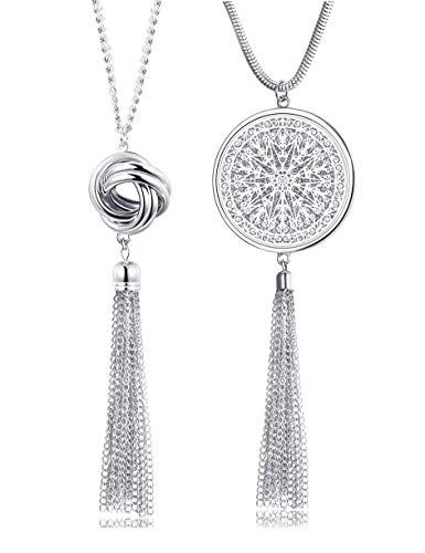 FUNRUN JEWELRY 2PCS Long Pendant Necklaces for Woman Knot Disk Circle Tassel Y Necklaces Set (2PCS Silver Tone)
