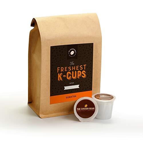 The Chosen Bean, Freshest K Cups in The World, Sumatra Roast Coffee, Organic Fair Trade, Small Batch Freshly Roasted Day of Shipment, 18 K-Cups (Sumatra)