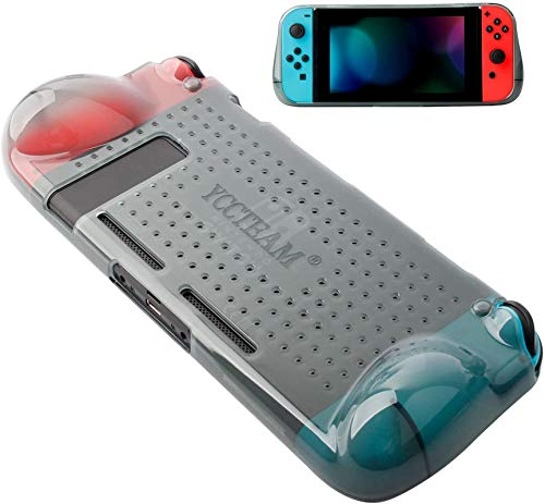 Protective Case Compatible with Nintendo Switch, Grip Cover Case with Shock-Absorption and Anti-Scratch Design Soft & Comfortable TPU Case for Nintendo Switch Console (Grey)