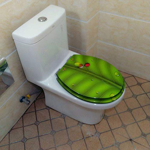 CHEN Hars toiletbril met één knop, snelsluiting, dikke zitting, print voor badkamer