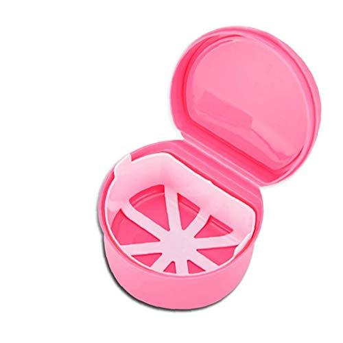 1PC Diente Falso retén Caso Titular de Dientes de la dentadura Caja a Prueba de Fugas de Almacenamiento del envase del Caso con Filtro para el Recorrido de Limpieza o empapar de Noche (Rosa)