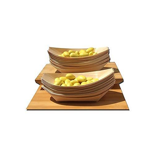 TOMYEER 100 X Bambú Madera Barcos para Fiesta Alimentos