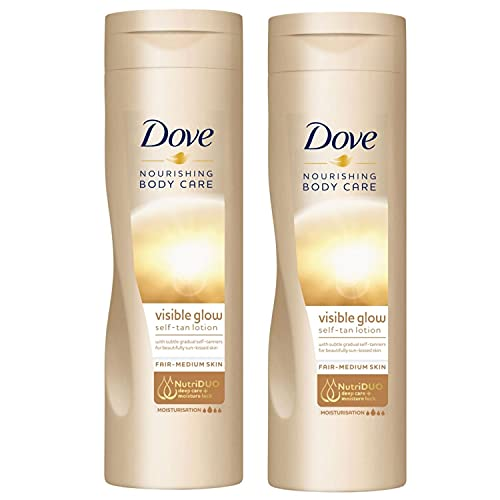 2 Pack of Dove Nourishing Body Care Visible Glow Gradual Self-Tan Fair to Medium Body Lotion 400ml