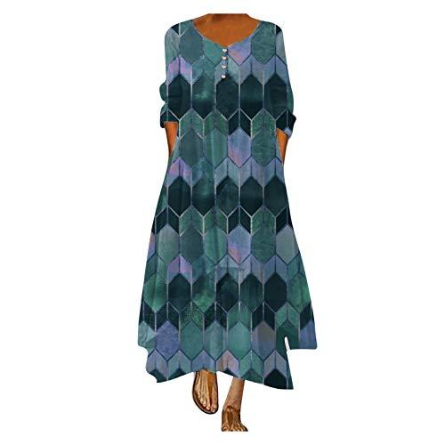 Vestido de verano para mujer, de manga larga, para el tiempo libre, diseño floral, cuello redondo, elegante, estampado, #1_azul, XL