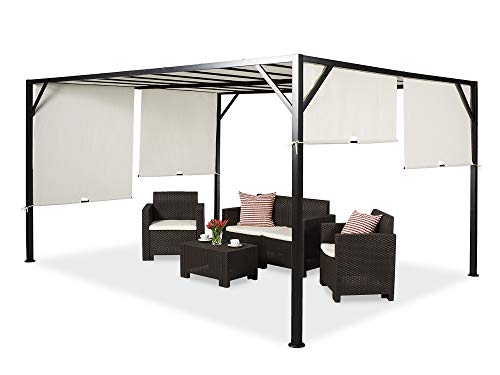 Garden Point Outdoor Pergola Gazebo Santorini | 300 x 400 cm | Perfect to Cover Garden Furniture & Jacuzzi | Easy Assembly | Cream