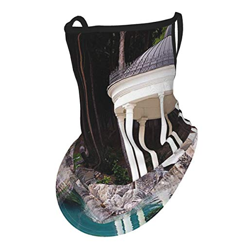 cap hat Landscape Gazebo by The Pond In A Beautiful Green Park Nature Forest Garden View Green Blue and Whiteface Bandana Neck Gaiter with Ear Loops, UV Sun Protection Reusable Cloth Scarf Balaclava