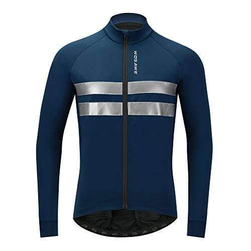 WOSAWE Men's Thermal Fleece Cycling Jacket Winter Biking Jersey Long Sleeves Reflective Bike Outfit, Blue 2XL